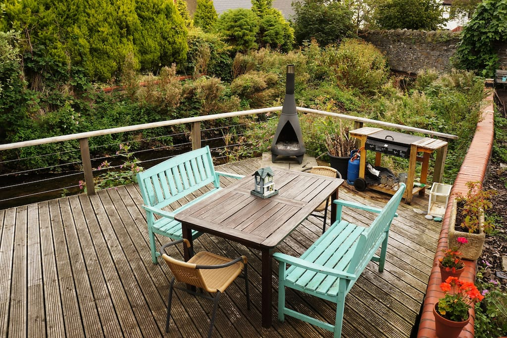 Secluded and peaceful outdoor dining area with bbq & chiminea.