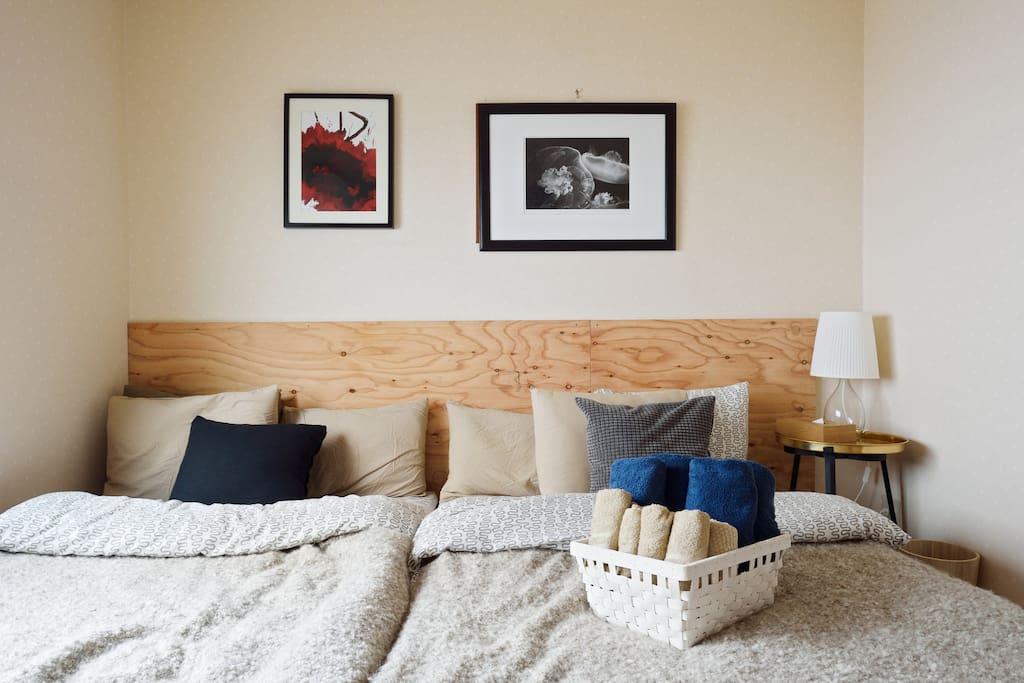 2 semidouble size beds