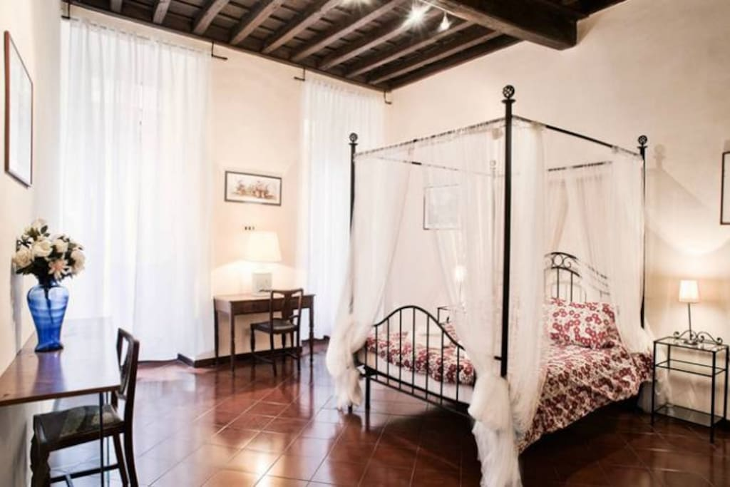Double bed with canopy for romantic sleeps