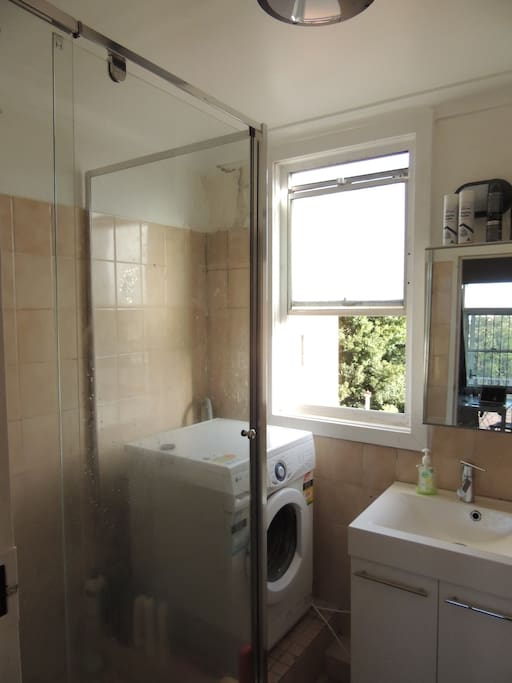 bathroom with washing machine - left side