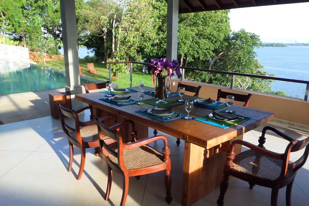The Fabulous Dining area looking over the Lake and pool