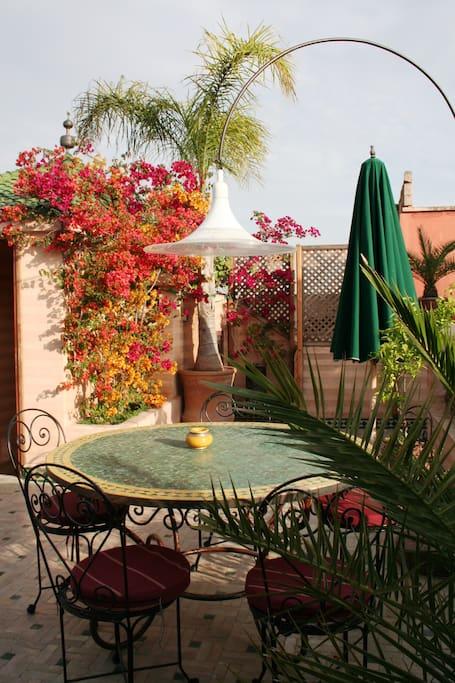 Breakfast table on first terrace