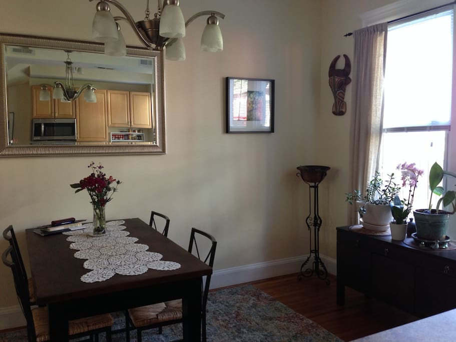 The dining room and kitchen reflection