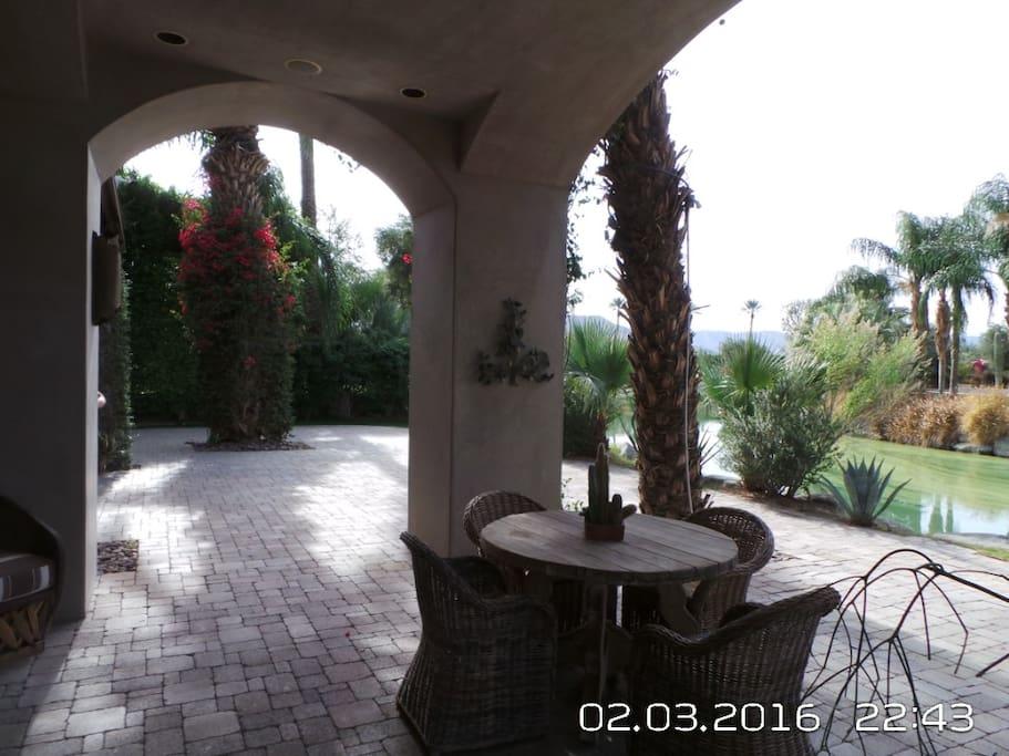 casita patio looking at lake and waterfall