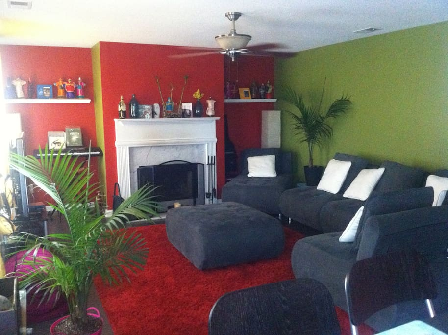 Family Room, with TV, guitar, keyboard, & game system all for use.
