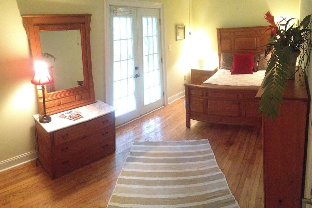 Bdrm 2 - Country room w/ Double Bed and French Doors. Beautiful view. Blow up mattress available also.