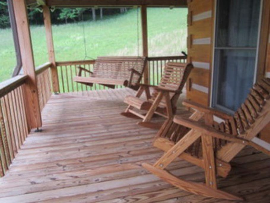 Front porch rocking chairs and swing