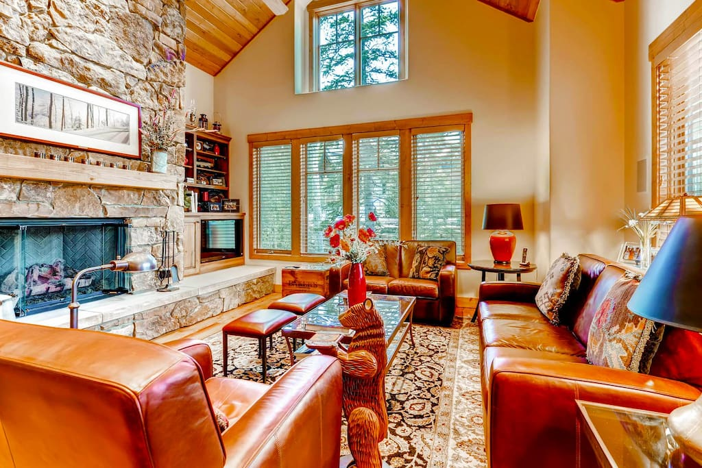Cozy living space with gas fireplace.