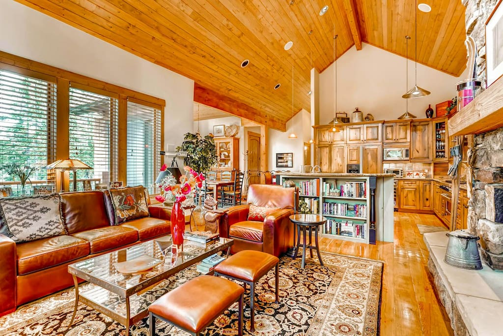 Open floor plan with warm and inviting touches.