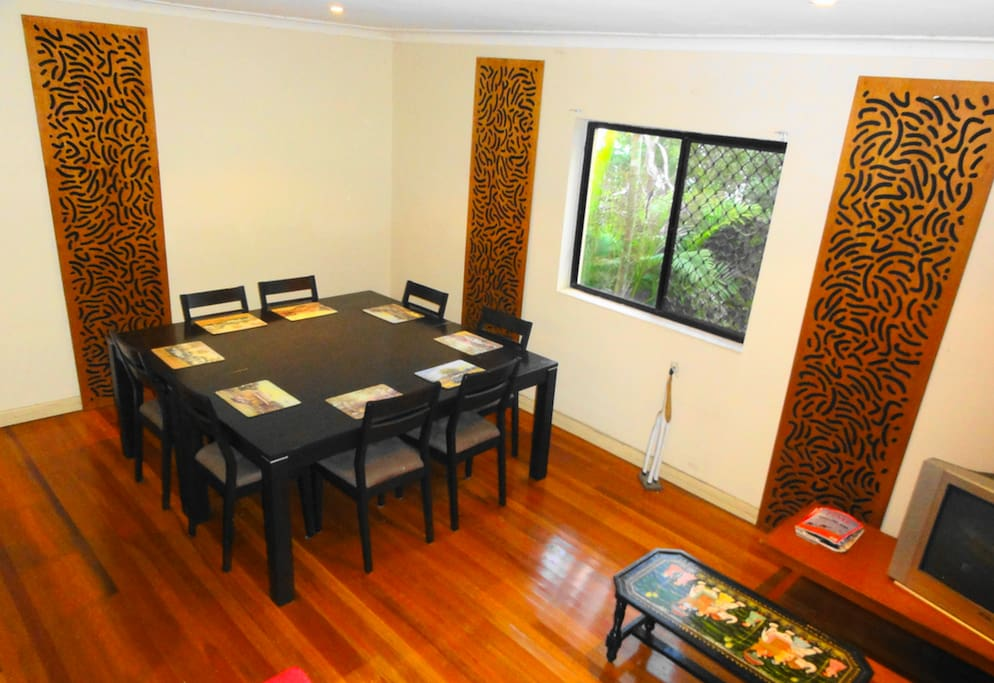 Large shared dining area.