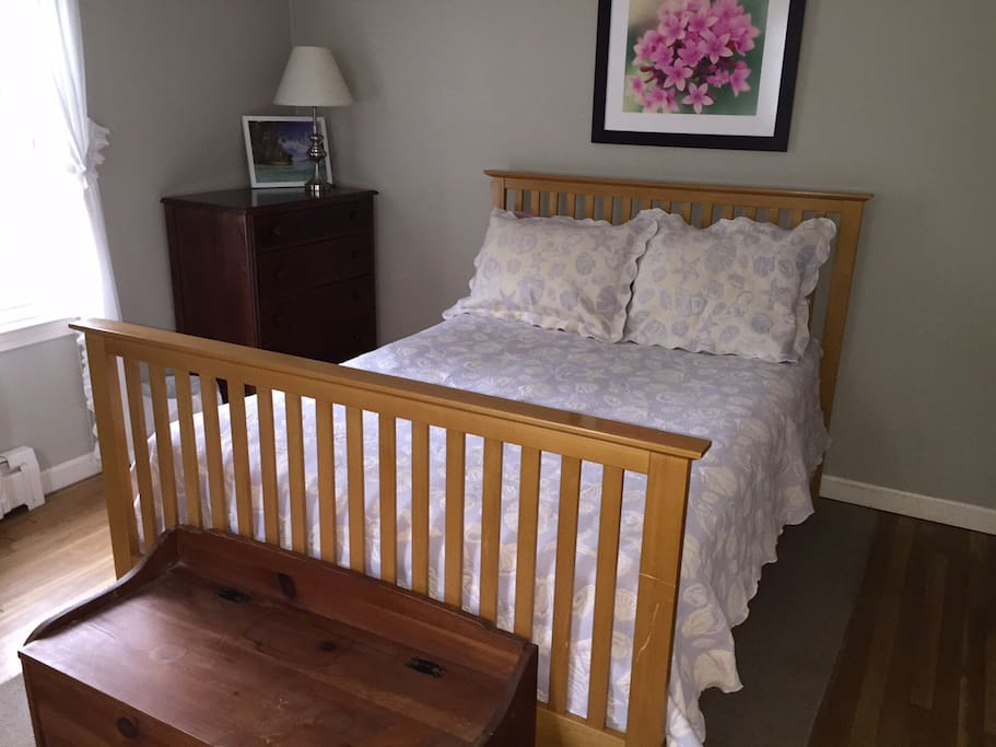Full size bed with recliner, dresser and AC