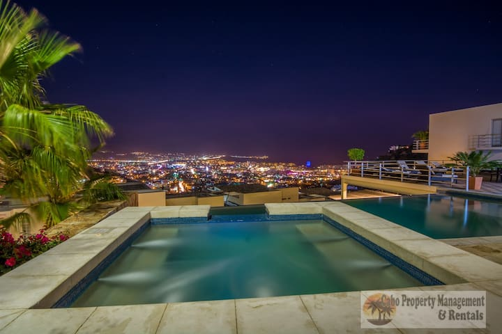 First pool deck evening view