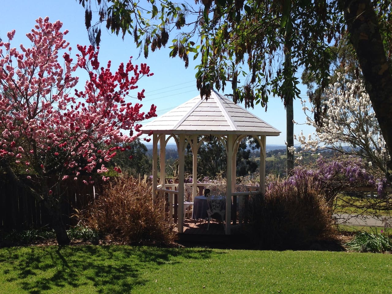 Spring blossoms and a tranquil view from the gazebo