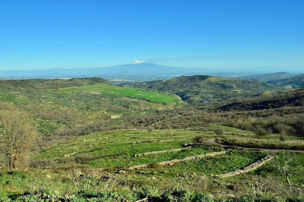 The view on valleys and Etna from the place
