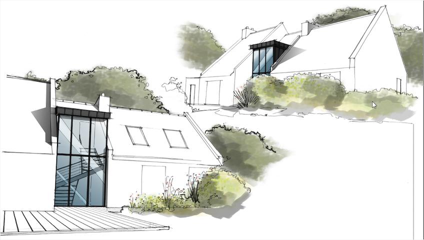 Villa d'architecte, 200 m2, bord de mer - Arradon