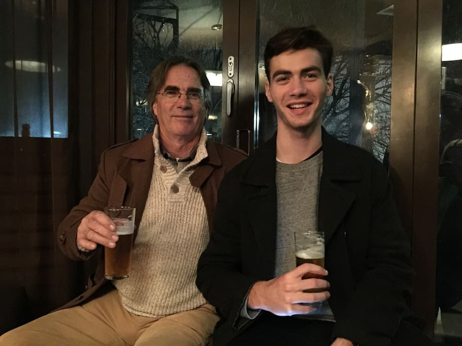 Friendly hosts father and son