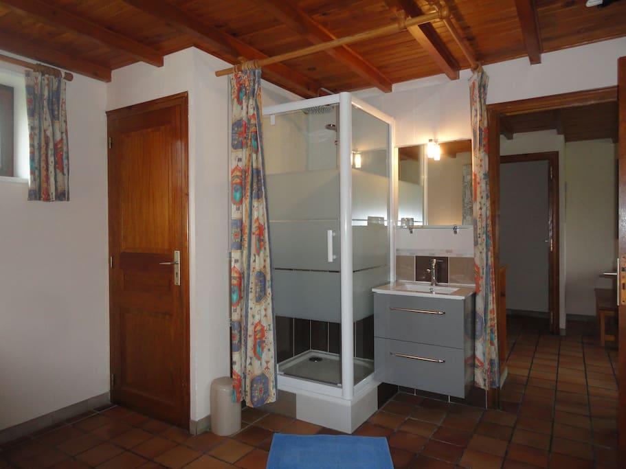 Douche, lavabo et toilettes privés dans la chambre
