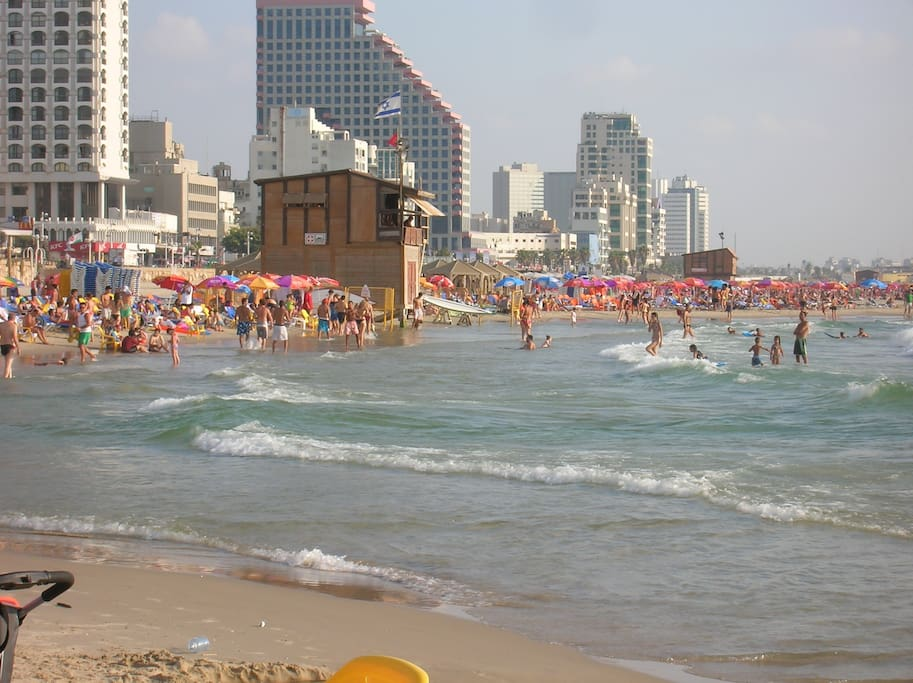 Hilton beach is 5 minutes walk from the apartment.