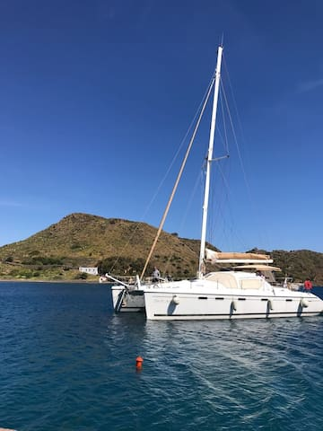 Skippered catamaran in Greek Dodecanese islands