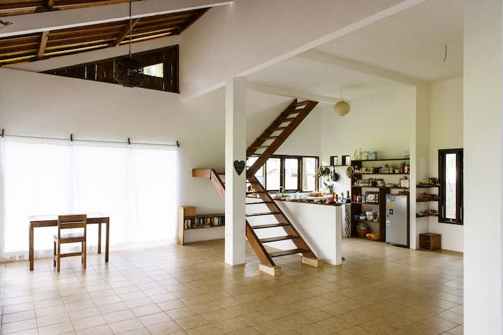 Die offene Küche und Treppe. The open kitchen and part of the living room.