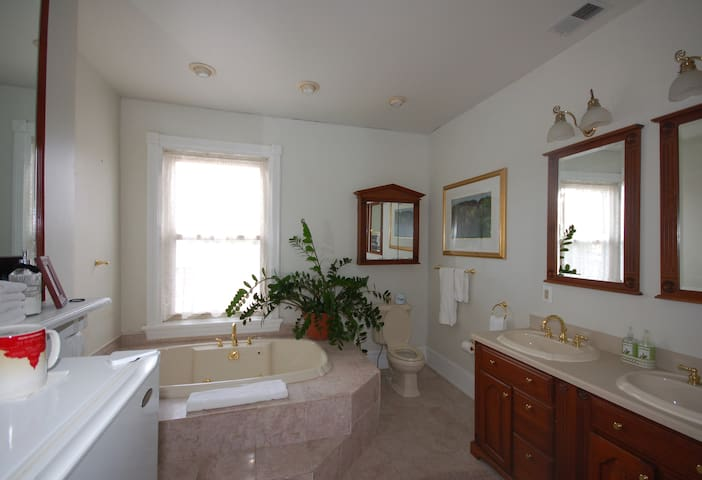 Attached private bath features a 2 person jetted tub and separate shower