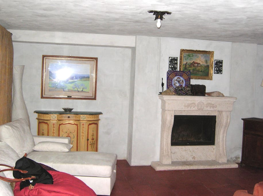 Sofà and one of the fireplaces