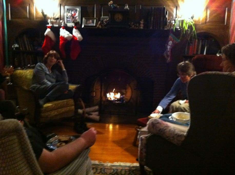 In Minnesota's colder months, the living room is a nice place to curl up with a good book in front of the fireplace.