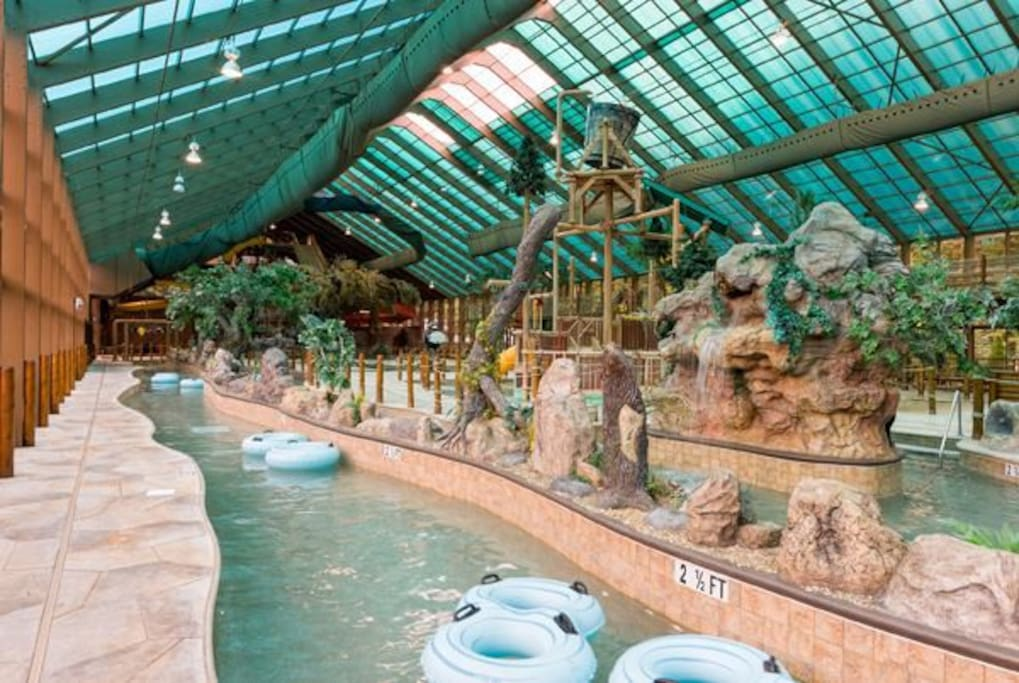 The indoor water park's lazy river!