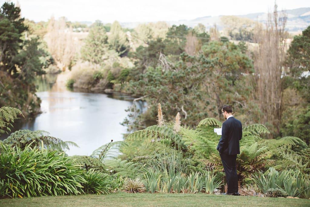 Expansive gardens overlooking lake