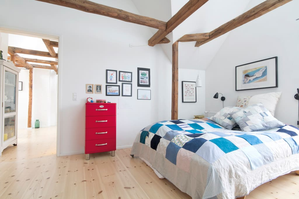 Sleeping room nr 1 with doublebed and french balcony.