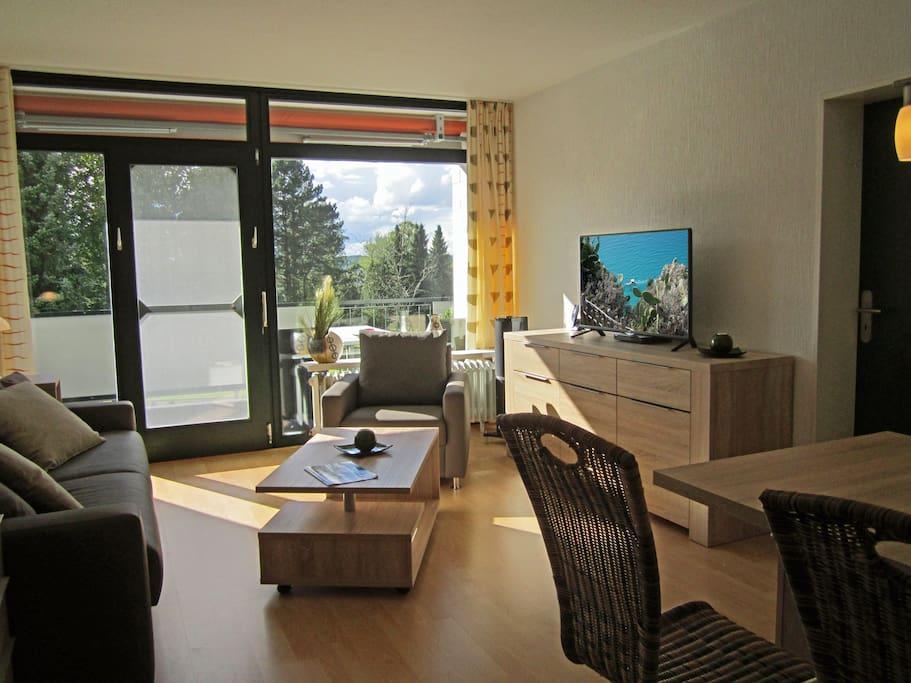 Die sonnige Wohnung bietet eine Menge Komfort