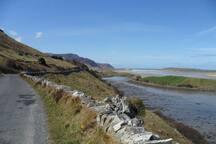 Road to Maghera peninsula and beach.