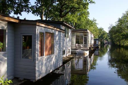 Houseboat between beautiful trees