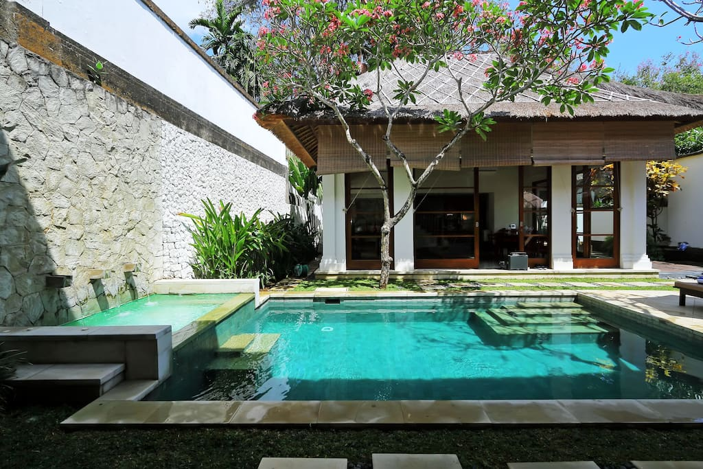 Pool in front of living room