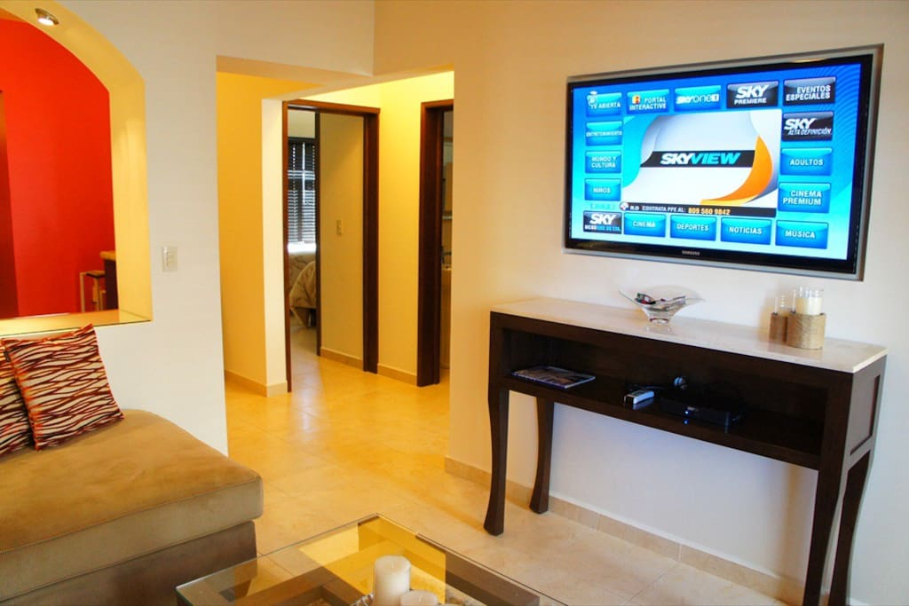 Fantastic 50 Inch TV built flush to the wall, with HD Satellite TV
