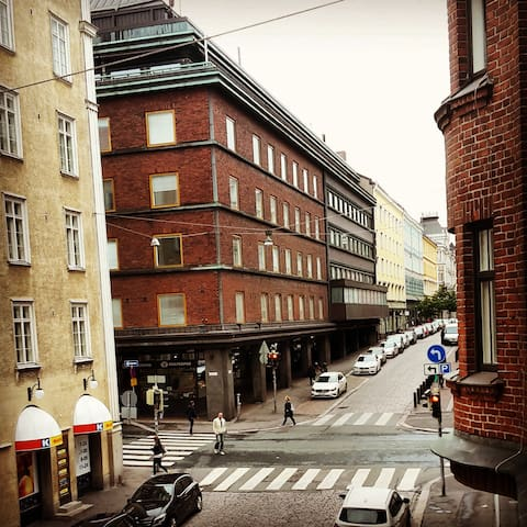 The street of Eerikinkatu, always alive with sophisticated bars & restaurants.