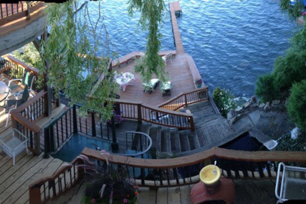 Live by the lake on over 2,000 sq. ft. of decking.
