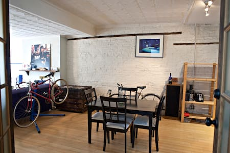 My apartment has a very open common area with exposed brick to remind you where you are - Brooklyn! The bedroom comfortably accommodates two & is walking distance to all the greatest Williamsburg spots. Public transport nearby and bikes available!