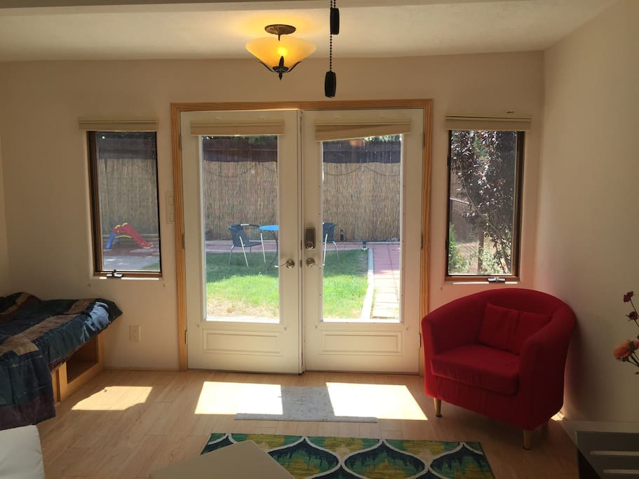 Lots of light in this little casita and French doors open to a cozy backyard!