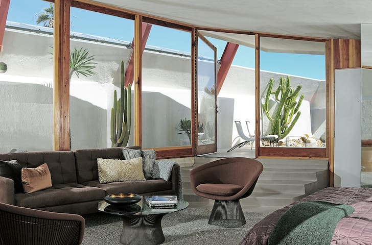 Floor to ceiling windows wrap around the unit showcasing an amazing cactus garden with rock lights.