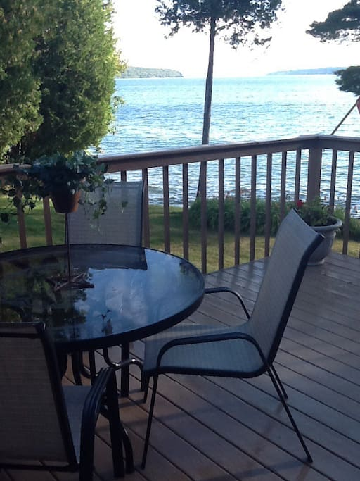 Table and chairs on the deck