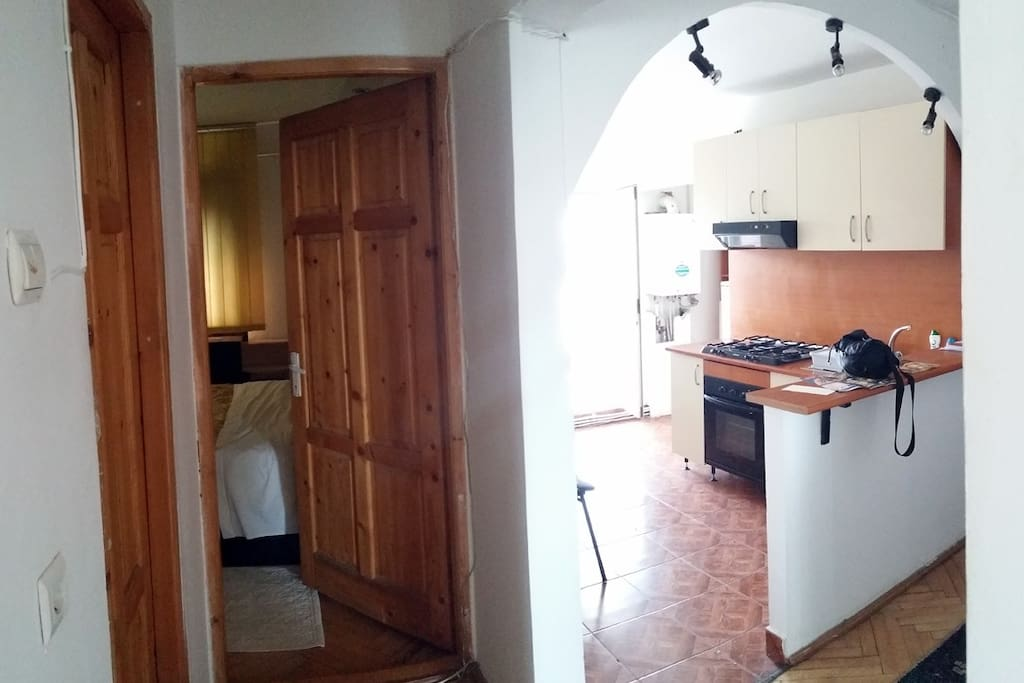 Entry to the bedroom and the open space kitchen.