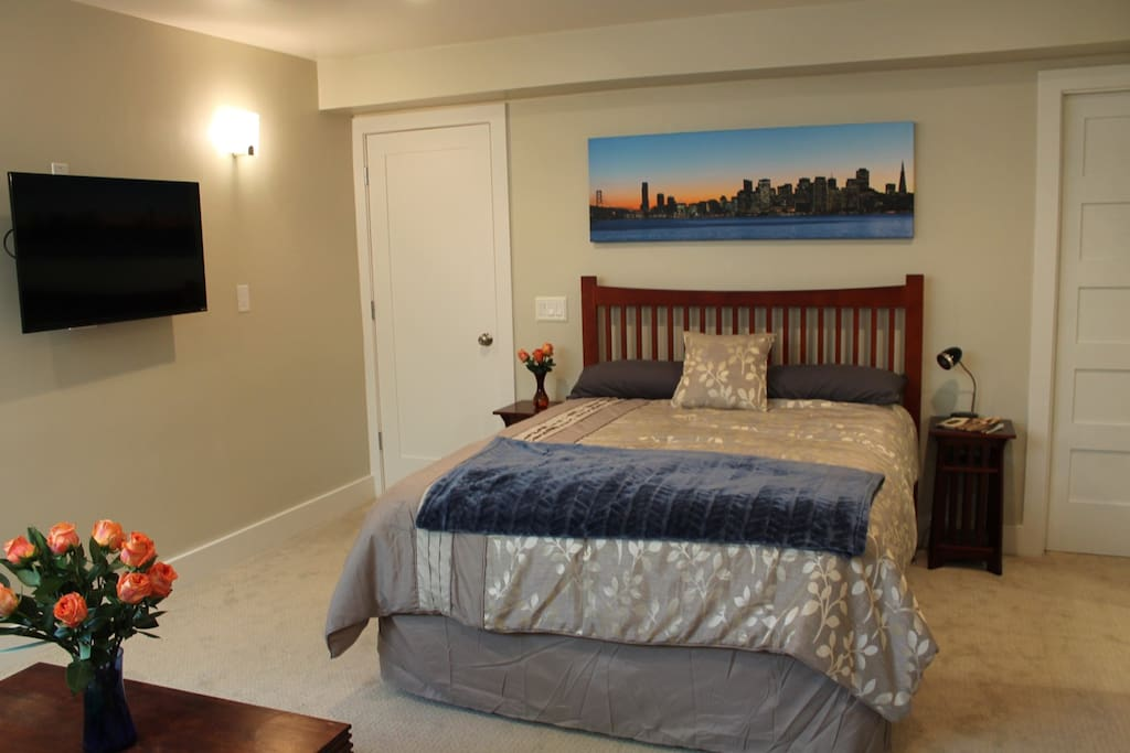 Comfortable Queen-size bed with wall-mounted TV on a swivel arm