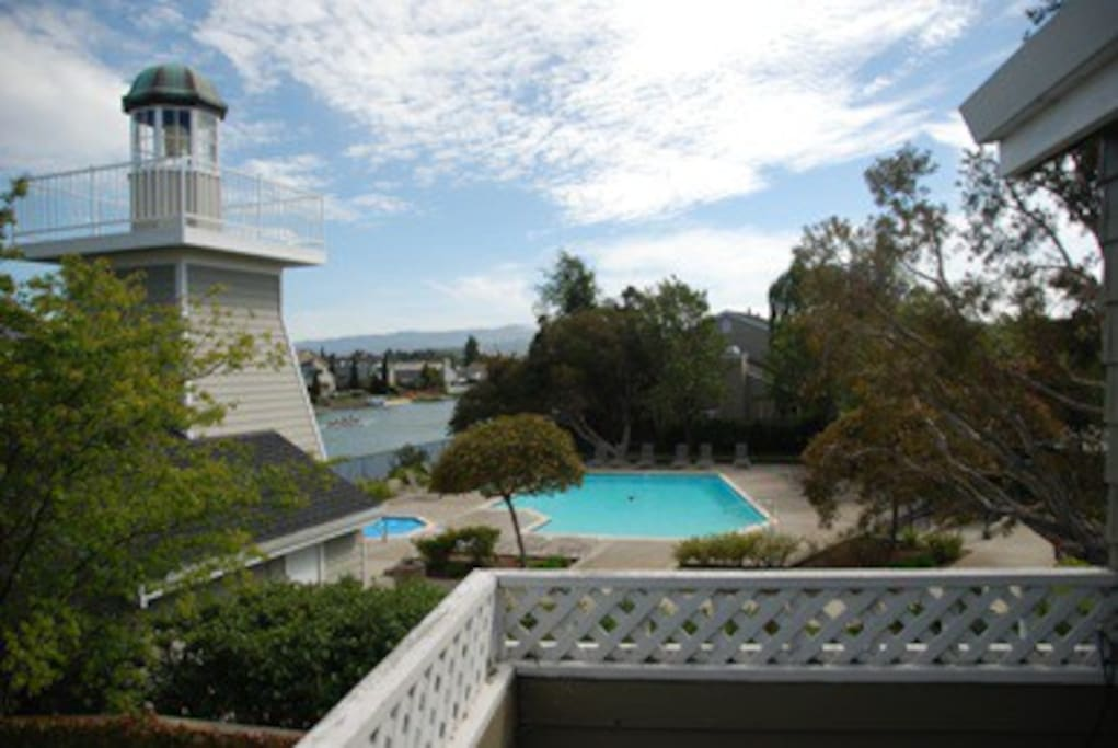View from the balcony. A light house at the community pool is a landmark for people using the waterways.