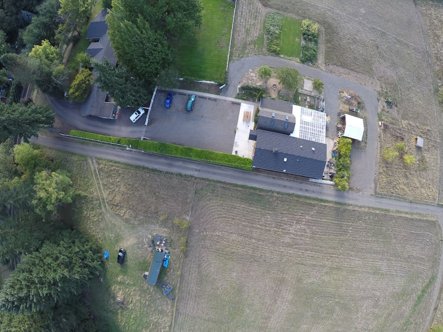 """Aerial view of the Cottage with """"The Kitchen"""" Cooking school directly across the road"""
