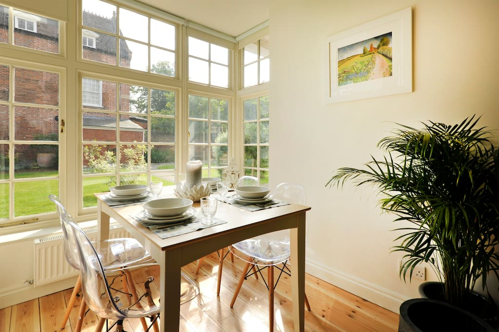 Dining Table Overlooking the Enclosed Garden