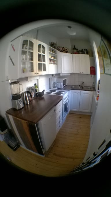 Kitchen with dish-washer, stove-oven, blender, coffee machine, electric kettle, toaster, microwave oven, dishes...