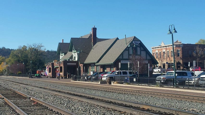 The railroad is an important feature to Flagstaff.  This is the Visitors Center as well as the Amtrak Station.