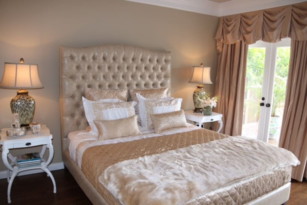 Private room with luxurious linens and private entrance