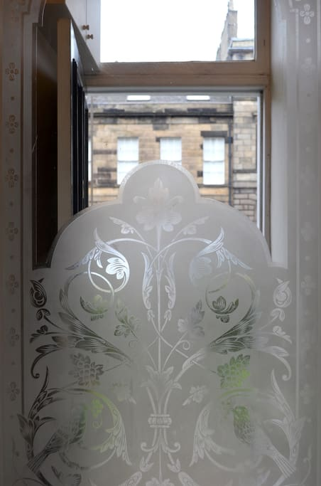 Lovely original decorative etched glass.